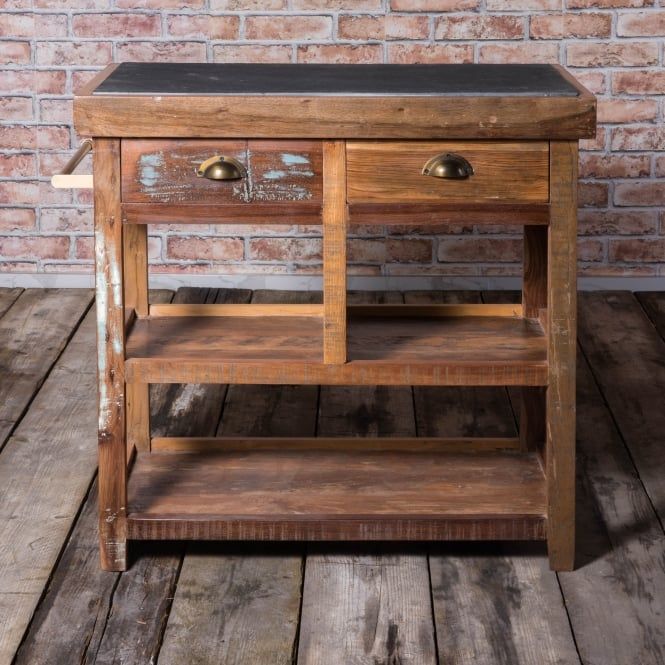 J.N. Rusticus Cairnwell Reclaimed Butchers Block With Stone Top