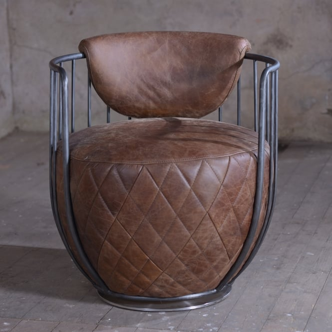 J.N. Rusticus Emden Leather Drum Swivel Chair