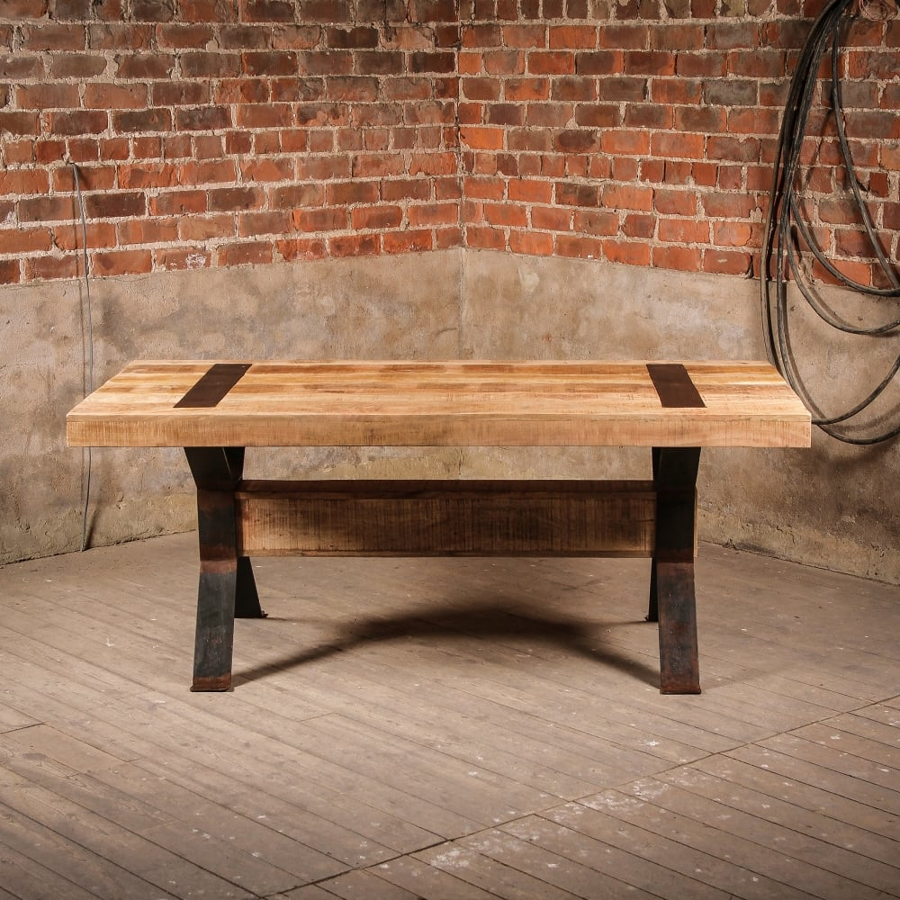 J N Rusticus Industrial Style Rustic Elk Dining Table Furniture