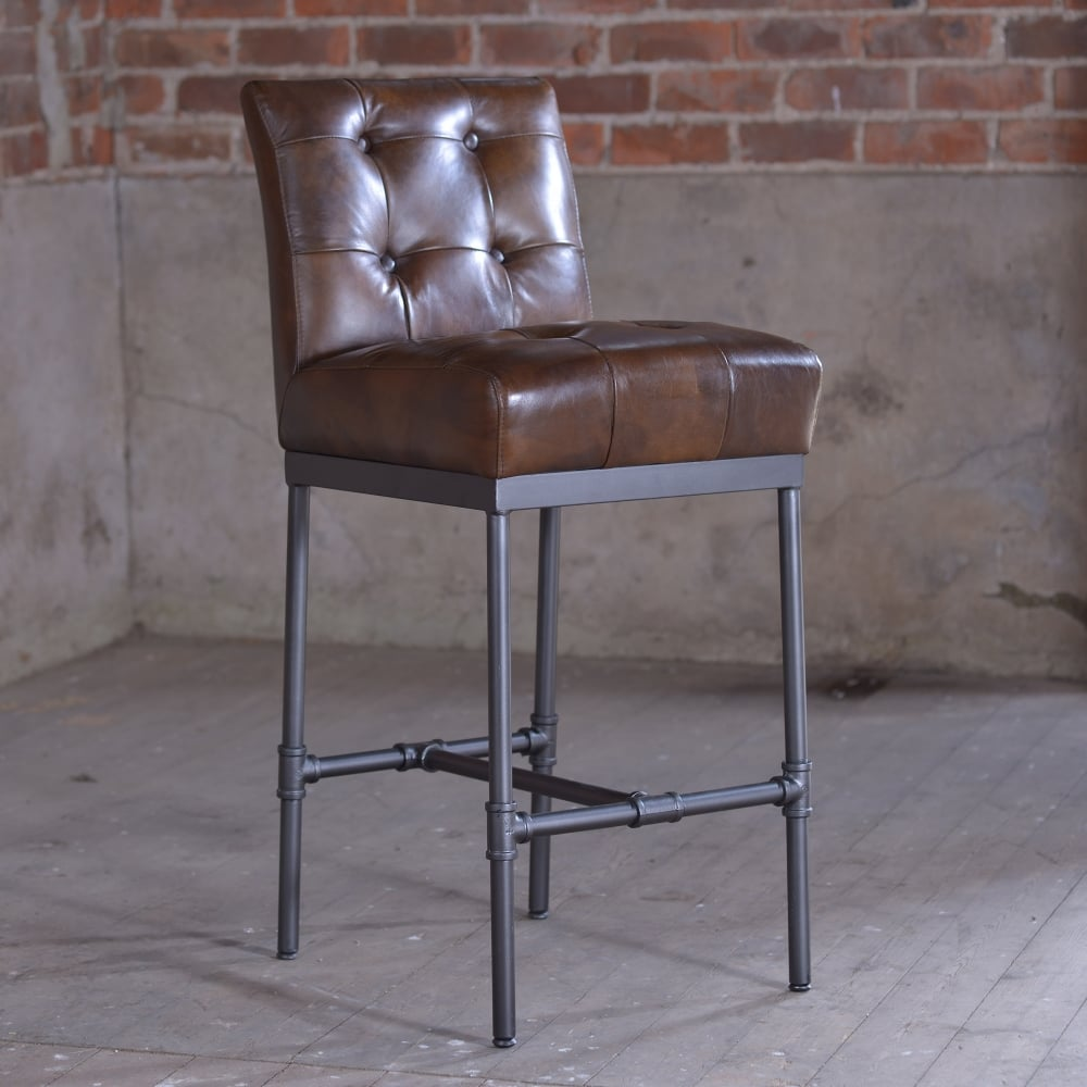Nungan Vintage Leather Bar Stool