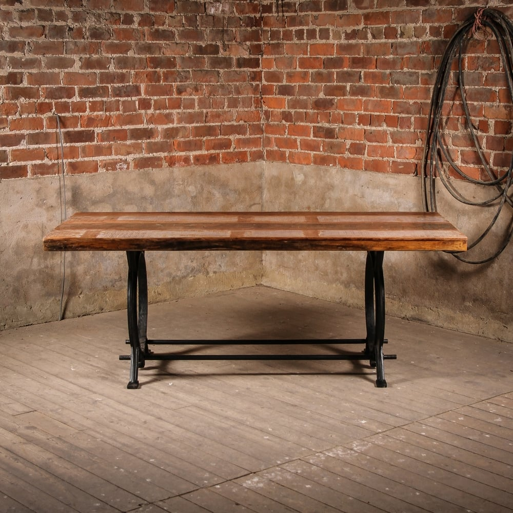 Reclaimed Boat Wooden U0026amp; Recycled Steel Thetford Dinning Table