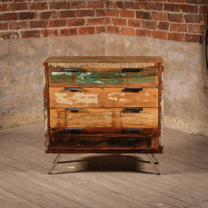 J.N. Rusticus Reclaimed Wooden Heathland Drawers With Chrome Legs