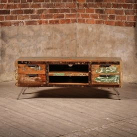 Reclaimed Wooden Heathland Low Cabinet With Chrome Legs