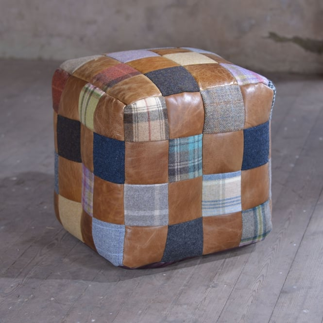 J.N. Rusticus The Zie Leather and Harris Tweed Pouffe Bean Bag