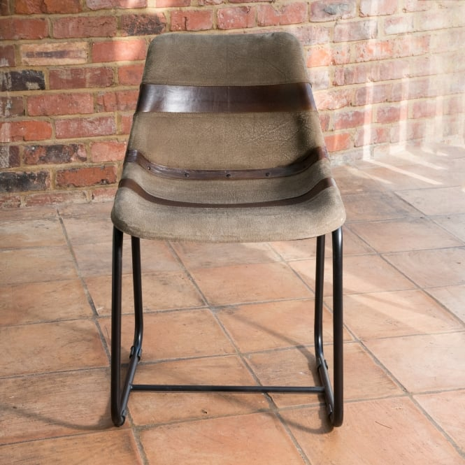 J.N. Rusticus Vintage Leather Metal Galloway Dining Chair