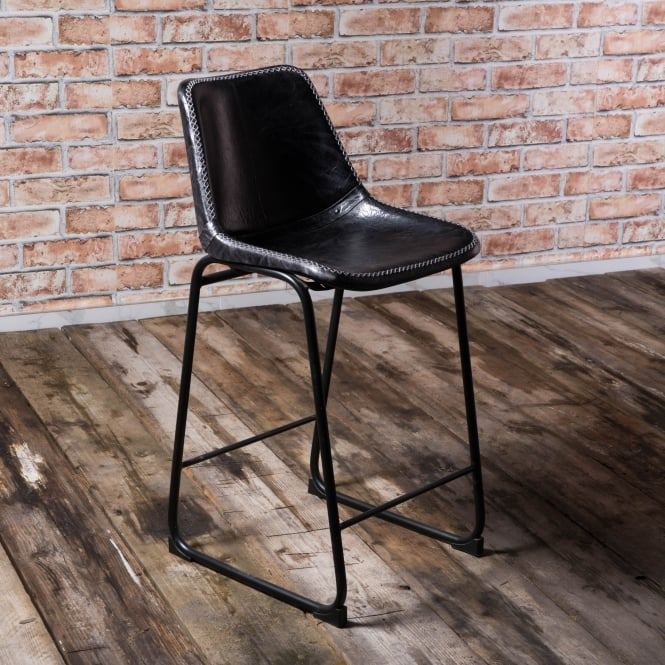 J.N. Rusticus Vintage Leather Metal Islay Bar Stool Brass/Black